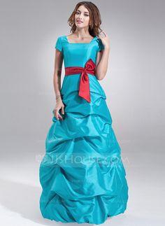 [£112.00] A-Line/Princess Square Neckline Floor-Length Taffeta Bridesmaid Dress With Ruffle Sash Bow(s)