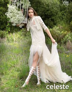 Yolan Cris wedding dress, interesting look with the gladiator boots