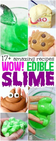 HUGE list of awesome edible slime recipes for kids of all ages - made with simple kitchen ingredients! (NO glue, NO borax, NO toxic chemicals) #slime