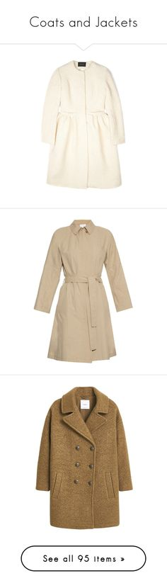 """""""Coats and Jackets"""" by poshandy ❤ liked on Polyvore featuring outerwear, coats, white slip, long sleeve slip, collarless coats, simone rocha, full white skirt, beige, single-breasted trench coats and beige trench coats"""