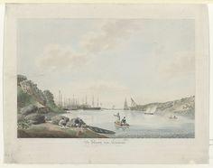 Gezicht op de haven van Curaçao, Reinier Frederik baron van Raders, 1810 - 1849