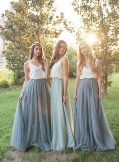 Bridesmaid Separates and Mismatched Bridesmaid Top and Skirt. The Leighton Skirt by Love Tanya. Bridesmaid Skirt And Top, Bridesmaid Separates, Blue Bridesmaid Dresses, Wedding Bridesmaids, Wedding Dresses, Mint Green Bridesmaids, Bridesmade Dresses, Wedding Vows, Budget Wedding