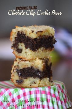 Brownie Filled Chocolate Chip Cookie Bars -  Two net carbs per bar makes this a fantastic treat!  - easy ingredients, uses almond flour