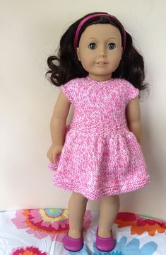 This sweet little 18-inch doll dress is a super-quick knit. Only two ends to weave in because the dress is knit with one continuous strand of yarn. There are buttonholes in the back to make it easy for little fingers to put the dress on the doll. The yarn provides the colorwork although it would look cute in a solid color, too.