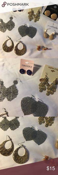 Lot of Earrings Forever 21, Charming Charlie, sophia and kate, one j.crew pair, will sell separatly but prefer not to J. Crew Jewelry Earrings