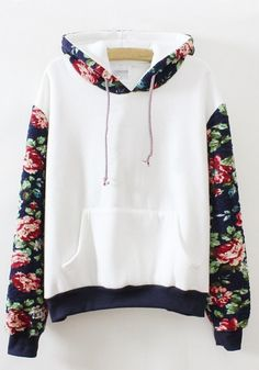 White Floral Print Long Sleeve Hooded Loose Sweatshirt