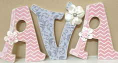 Custom  Nursery Letters for Girl- Shabby Chic Nursery Decor- Wooden Letters, Personalized Name- Baby Girl Room Decor - The Rugged Pearl