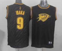 Oklahoma City Thunder #9 Serge Ibaka Precious Metals Fashion Swingman Jersey Black 24.0$