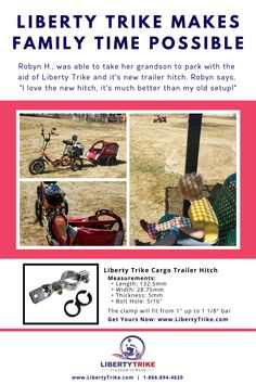 Our Liberty Trike Cargo Trailer Hitch Makes Family Time Possible. Cargo Trailers, New Trailers, New Electric Bike, Trick Riding, Dangerous Goods, United Parcel Service, Trailer Hitch, Liberty, How To Make