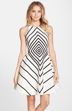 32eb9f2437 Halston Heritage Stripe Faille Fit   Flare Dress