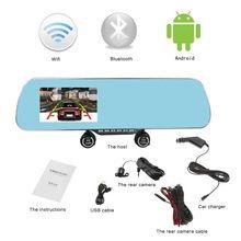 """Galinio vaizdo veidrodis Automobilių DVR 5,0 """"LCD ekranas 1080p"""" Full HD """"Dvigubas objektyvas android + WiFi +"""" Bluetooth """"Automobilių kameros Vaizdo grotuvai Naktį Versija"""