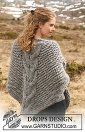 """Ravelry: 116-14 Shawl in garter st with cables in """"Polaris"""" pattern by DROPS design"""