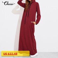 Celmia Plus Size Vestidos 2017 Winter Women Vintage Long Maxi Dress Casual Solid Long Sleeve Hooded Pockets Dresses de Festa