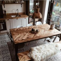 Handmade Home Decor The Isla Table This unique design features a solid oak top … Home Design, Interior Design, Handmade Home Decor, Handmade Table, European Home Decor, Wooden Shelves, Dining Room Table, Room Inspiration, Home Kitchens