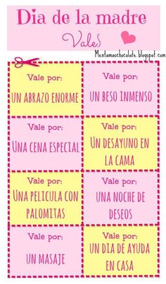 Menta Más Chocolate - RECURSOS y ACTIVIDADES PARA EDUCACIÓN INFANTIL: VALES para el DÍA de la MADRE