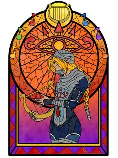 Stained glass window dedicating Sheik