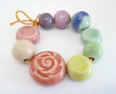 Rainbow Porcelain Bead Set by Diana Ptaszynski.