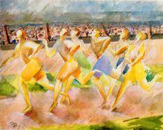 Der Wettlauf (the race) 1935 Aquarell auf Papier 49 x 62 cm Bauhaus, Johannes Itten, Painting, Pocket, Art, Art Background, Painting Art, Kunst, Paintings