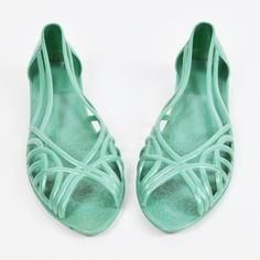vtg 80s MINT CUTOUT open PEEP-TOE slip on JELLY JELLIES sandal ballet flats L 10 $28.00