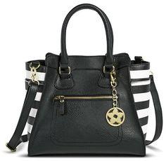 Women's Side Striped Satchel Handbag - Black/White on shopstyle.com