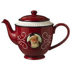 Grasslands Road Old World Santa Ceramic Teapot Red >>> More info could be found at the image url. (It is an affiliate link and I receive commission through sales) Christmas China, Christmas Dishes, Christmas Tea, Black Christmas, Father Christmas, Chocolate Pots, Chocolate Coffee, Teapot Cookies, Christmas Dinnerware