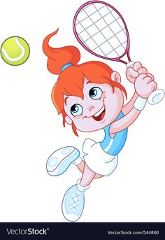 Cartoon tennis player vector image on VectorStock Cartoon Mouths, Cartoon Monsters, Tennis Girl, Leprechaun Girl, School Painting, Cute Bee, Preschool Learning Activities, Sports Day, Classroom Posters