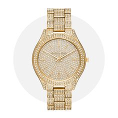 This beautifully crafted timepiece by Michael Kors features a stunning gold coloured stainless steel bracelet, gold dial face with crystal detailing and quartz movement. Also features water resistance up to 50 meters. Vintage Watches For Men, Jewellery Boxes, Jewelry, Slim, Watch Sale, Fashion Watches, Men's Watches, Stainless Steel Bracelet, Michael Kors Watch