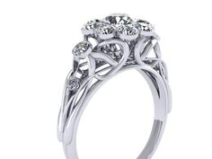 Scrollwork Engagement Ring 14K White Gold by adamfosterjewelry, $900.00