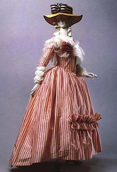 Robe a l'anglaise of silk taffeta trimmed with self-fabric ruching. French, c. 1785. Metropolitan Museum of Art.