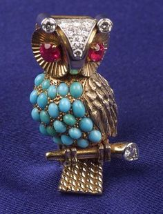 18kt Gold, Turquoise, Diamond and Ruby Pin, Cartier, France - Skinner