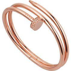 Juste un Clou bracelet Pink gold, diamonds (286.942.105 IDR) ❤ liked on Polyvore featuring jewelry, bracelets, rose gold jewellery, red gold jewelry, diamond jewellery, 18k bangle and diamond jewelry