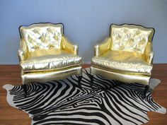 Vintage HOLLYWOOD REGENCY French Style Button Tufted Mid Century Gold Bergere CHAIR on etsy.com