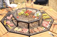 In addition to the grilling surface, each seat has its own wooden surface to enjoy the freshly grilled food.