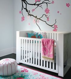this would be cute I have always wanted to do a cherry blossom tree in a room.. cute idea for a baby girl.