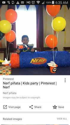 How to make a giant nerf bullet pinata - Piñata Boy Nerf Birthday Party, Nerf Party, 10th Birthday, Birthday Ideas, Birthday Board, Battle Party, Nerf Cake, Cylinder Shape, Nerf Gun