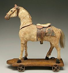 Antique Rocking Horse, Rocking Horse Toy, Vintage Horse, Vintage Dolls, Primitive Antiques, Vintage Antiques, Toys In The Attic, Wooden Horse, Pull Toy