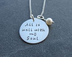 Hand Stamped Jewelry All is well with my soul sterling silver jewelry religious jewelry faith jewelry