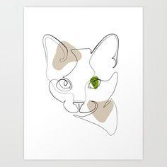 Cat Drawing, Drawing People, Line Drawing, Line Artwork, Line Art Design, Cat Art Print, Mini Canvas Art, Doodle Patterns, Portrait Illustration