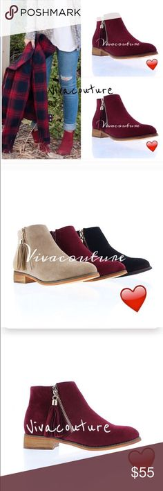 Last One ! Chic Fringe Detail Booties Wine faux suede booties with fringe zioowr she detail. Best selling style fits true to size and very comfortable and well made . NIB. Also available in black . Runs true to size and last one. Vivacouture Shoes Ankle Boots & Booties