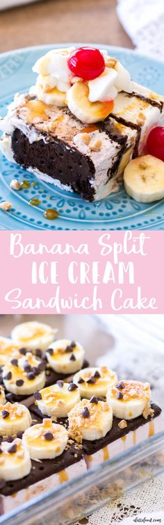 This Banana Split Ice Cream Sandwich Cake is a fun twist on the classic banana split dessert. Ice Cream Sandwiches, bananas, caramel sauce, hot fudge, whipped cream, and cherries make up this super pretty ice cream dessert! This easy no bake ice cream sundae dessert is the perfect way to cool off during the summer!