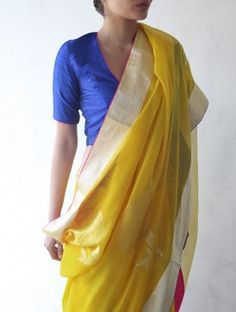 summerrrr! mustget. [Yellow Chanderi & Zari Marigold Saree]
