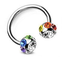 Amazon.com: (Multi Gem Horseshoe Barbell) - Navel Belly Ring, Eyebrow, Nipple, etc. Gay and Lesbian Pride Body Jewelry - LGBT Belly Button Navel Rings. LGBT Pride - Gay and Lesbian High quality 316 steel barbell ring band for men or women. Rainbow Pride Body Jewelry is Great for the Gay parade, as a Lesbian, Gay, Bisexual, or Transgender Gift to Celebrate Marriage, Love and Equality. (Multi Gem Horseshoe Barbell) (A): Jewelry