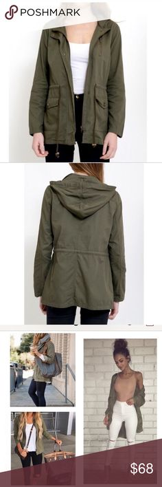 Olive Green Jacket with Hood Jacket with hood and waist drawstring detail . Perfect for those cozy winter boots and your favorite sweater and scarf.  100% Cotton  Price is firm. Jackets & Coats Utility Jackets