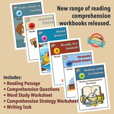 Reading comprehension workbooks include reading passage, comprehension questions worksheet, word study worksheet, comprehension strategy worksheet and writing task. $4.00. Splash Resources // Australian Primary and Early Year Teaching Resources // www.splashresources.com.au Comprehension Strategies, Reading Comprehension, Kids English, Australian Curriculum, Reading Passages, Word Study, Teaching Reading, Teaching Resources, Worksheets