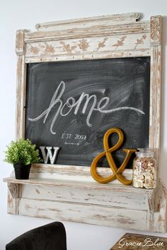 Antique Mantel Repurposed into rustic chalkboard and shelf