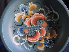 Beautiful Norwegian Rosemåling Bowl Plate by CactusWrenVintage