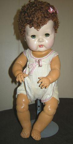 "1950 Tiny Tears Baby Doll 15"" HP Head, Rubber Body,Caracal Wig,Original Romper #americancharacterdoll #Dolls"