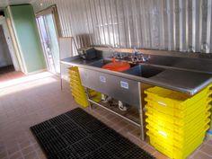 shipping container post-harvest shed/commercial kitchen Cabin Plans, Shed Plans, Kitchen Hacks, Diy Kitchen, Farm Hacks, Log Home Kitchens, Diy Outdoor Kitchen, Outdoor Kitchens, Vegetable Farming