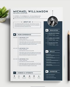 Clean & Modern Resume/cvtemplate to help you land that great job. The flexible page designs are easy to use and customize, so you can quickly tailor-make your Free Cv Template Word, Job Resume Template, Resume Design Template, Simple Resume, Creative Resume, Modern Resume, Portfolio Web, Portfolio Resume, Design Social