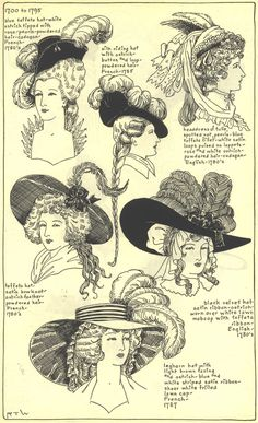 French and English Ladies Hats, 1780's